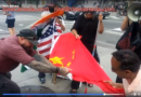 Protesters stepping on the bloody flag and Fuk China 各族踩血旗 齊齊忽猜拿